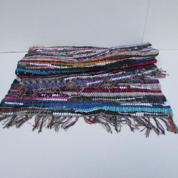 Vintage Pied Hand Woven Rag Rug Colorful Rag Rug Average