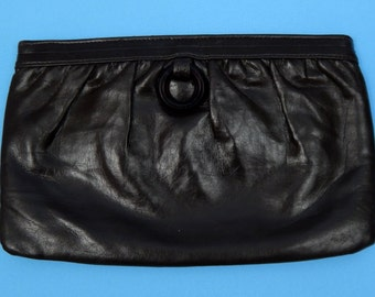 1970's Dark Brown Faux Leather Clutch Bag