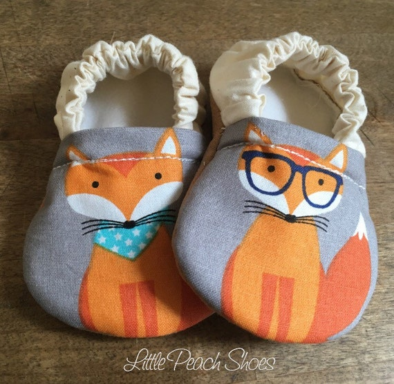 Fox baby shoes Hippy baby shoes Hippy baby clothes Vegan