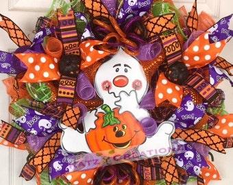 Pumpkin Ghost Wreath, Halloween Wreath, Boo Wreath, Trick or Treat, Fall Wreath, Door Wreath, Wall Decor, Pumpkin Wreath, Halloween Pumpkin