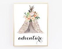 Instant Download Printable Art, Adventure Nursery Decor, Wall Decor Nursery, Native American Art, Top Selling Shops, Watercolor Art Print