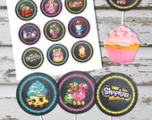 Shopkins 2 Inch Circles, Stickers, Cupcake Toppers, Tags, INSTANT DOWNLOAD