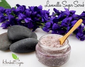 Organic Sugar Scrub by Herbal Spa with Refined Coconut Oil Vitamin E Oil and Pure Lavender Oil