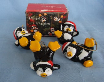 Penguin Ornaments Vintage Christmas Around The World Playful  - Set Of 4