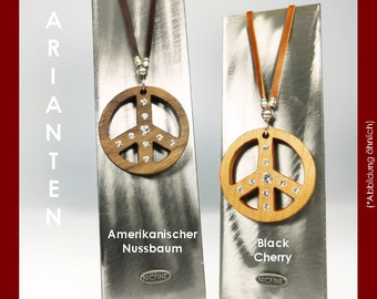 Chain peace wooden with SWAROVSKI ELEMENTS