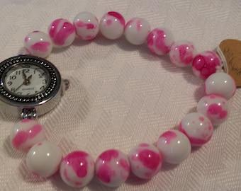 Pink and White Glass Beaded Quartz Watch Bracelet