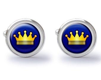 Crown Cufflinks - Gold Crown Cuff Links - Royal Crown Cufflink (Pair) Lifetime Guarantee (S0501)