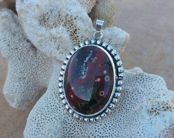Sterling silver pendant with poppy jasper