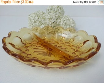 30% Off Sale - Vintage Indiana Amber Glass Divided Candy Dish