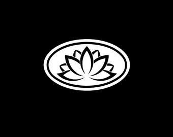 Lotus Flower Euro Decal, Solid Color Yoga Symbol Car Decal, Yeti Tumbler Sticker, Planner Decal, Choice of Sizes and Colors!