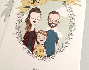 Custom Family Portrait. Family. Gift. Illustration. Wreath.