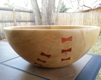 Large Silver Maple Wood Salad bowl with Bloodwood Butterfly inlay patches, 14-3/8""