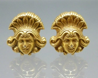 Vintage King Head Earrings Gold Tone Metal Faces Clip On