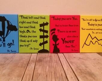 Set of 4 Dr. Suess Canvas Set