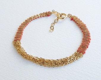 Woven chain bracelet, gold link bracelet, gold link chain bracelet, Woven Link Chain Bracelet. textile jewelry, multi chain bracelet