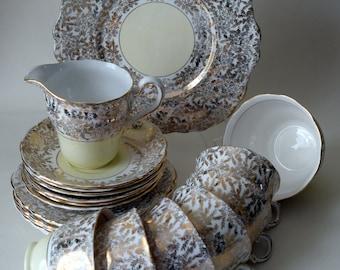 Gold and Pale Yellow, Chintzy Colclough Bone China Tea Set, c 1940s