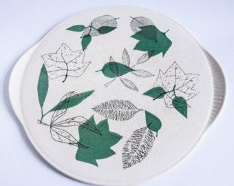 Cake Platter Green and White Nature Design Green Leaves 50s