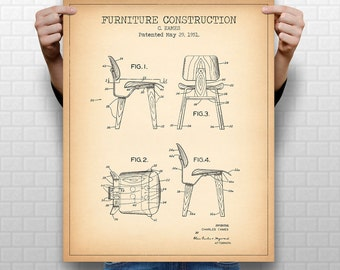 """8x10"""" """"EAMES CHAIR"""" Patent, Instant Download #1019, Vertical Patent Print, fits 8x10"""" 11x14"""" 16x20"""" frame"""