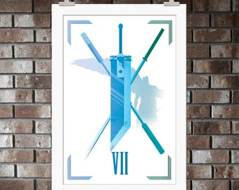 Final Fantasy VII, Buster Sword, Print, Artwork, Poster, Gift, Sony, Sephiroth, Aeris, Cloud, Avalanche, Shinra, PlayStation, Midgar