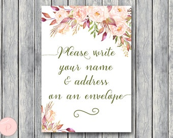 Wedding Thank you return address, Write your name and address on an envelope sign, Printable sign, Wedding decoration sign WD85 TH46