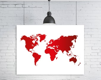 Red world map, Red map, Printable world map, World map, World map poster, Instant download, World map print, Wall art, Large world map, Map