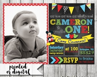 Mickey Mouse First Birthday Invitation, Mickey Mouse Invitation, Mickey Mouse 1st Birthday Invitation, Mickey Mouse Birthday Invitation