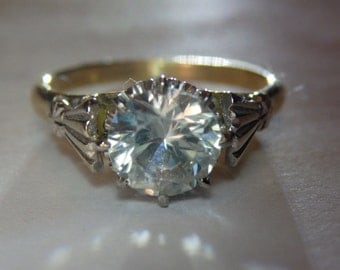 Cyber sale Antique Edwardian 18k gold 1.5ct white sapphire ring