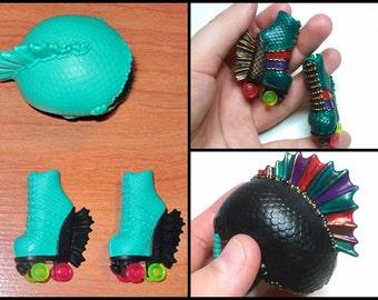Monster High or Ever After High REPAINTED set- OOAK rollermaze set, rollers, skates & helmet