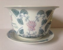 Vintage Asian Style Ceramic Pot/Planter with Drainage Hole and Matching Saucer.