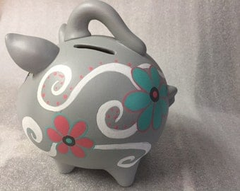 Piggy Bank: Pretty Swirls   Hand Made, Hand Painted