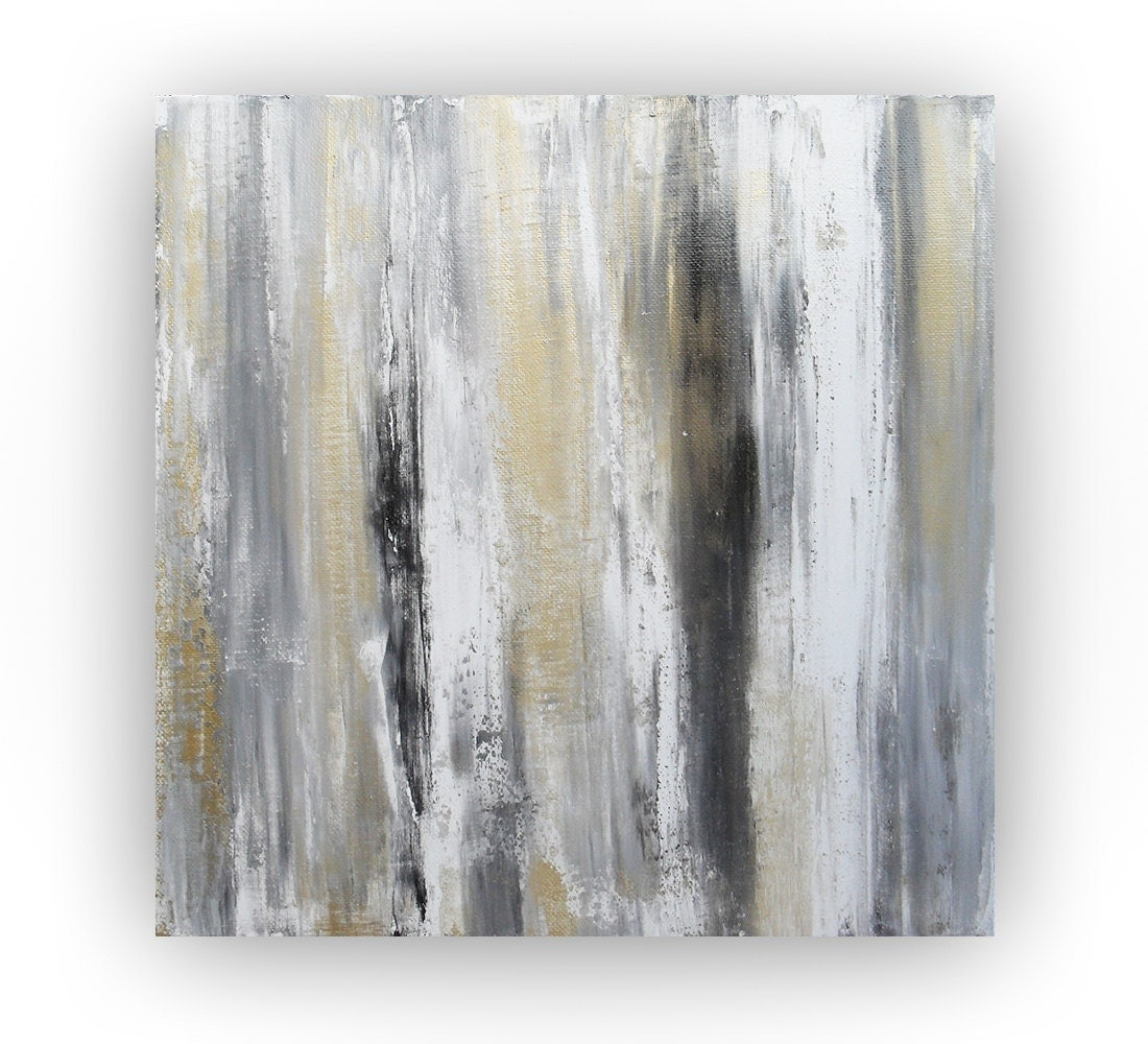 Gold and grey abstract painting gold canvas art by for Gold paintings on canvas