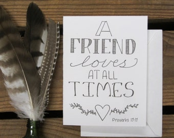 Hand Lettered Card, Valentine's Day Card, Friendship, Encouragement, Hand Made, Bible Verse