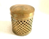 Winter Blahs Sale Bathroom storage brass filigree container lidded brass rustic bathroom brass bathroom accents