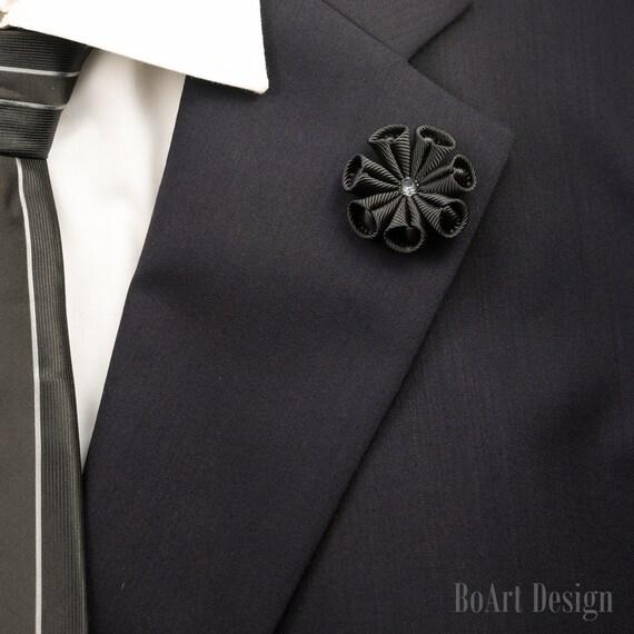 Stylish Beautiful Black Flower Lapel Pin: Lapel Pin/Black Flower Lapel Pin With Swarovski Silver Night