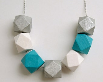 Geometric wooden necklace - Pop of colour - Teal