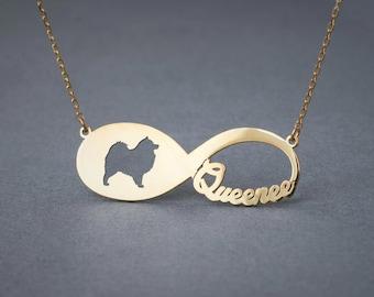 14k Solid Gold Personalised INFINITY SAMOYED Necklace - 14k Gold Samoyed Necklace - Name Necklace