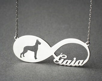 Personalised INFINITY GREAT DANE Necklace - Great Dane necklace - Name Necklace - Memorial Necklace - Puppy - Dog Necklace