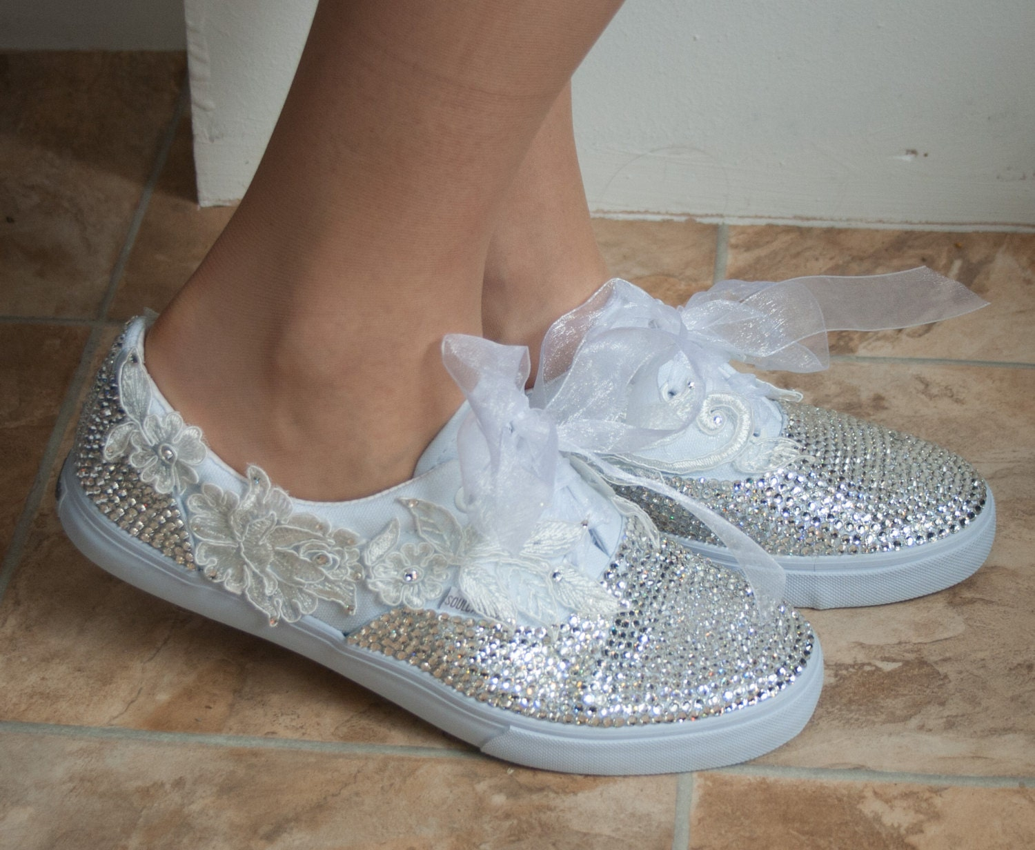 wedding converse style trainers with crystals and lace