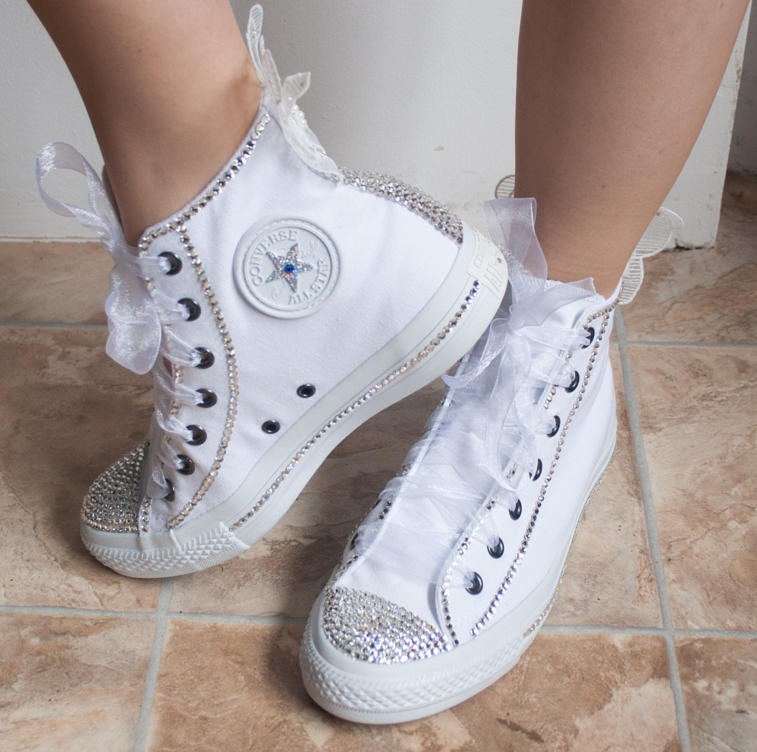 wedding converse high top wedding trainers with crystals
