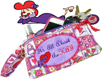 Red Hat Society Wristlet Purse Phone Case Zipper Pouch Makeup Bag Wristlet Clutch Red Clutch Purple Purse Clutch Purse Gift for Her