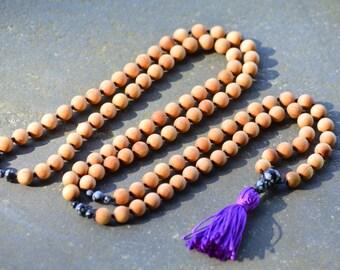 Barbie Sandalwood Mala Beads, 108 Mala Beads,Snow Obsidian Marker Beads, Mala Necklace, Prayer Beads, Yoga Jewelry, Beaded Necklace