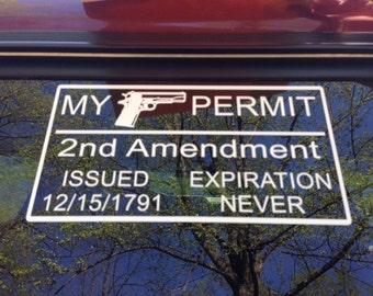 Decal 2nd Amendment My Gun Permit Gun Rights Decal Right to Bear Arms Decal