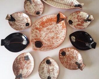 Kenji Fujita Lagardo Tackett 1950's Art Pottery Ceramic Fish Plates Collection Of 10
