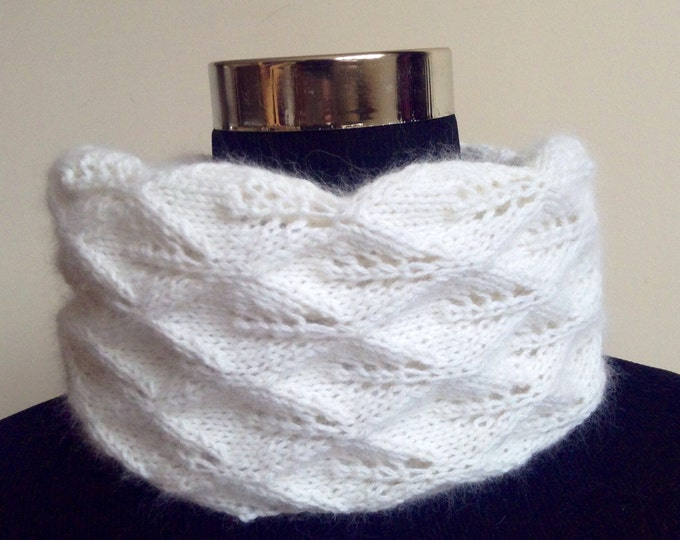 Pure cashmere lace knit cream snood, cowl, scarf by Willow Luxury