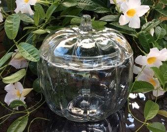 Vintage Anchor Hocking Clear glass Pumpkin canister with lid. Clear glass Pumpkin cookie jar.