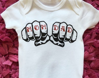 Knuckle Tattoo baby onesie