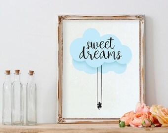 POSTER PDF PRINTABLE - Baby Sweet dreams. Size (21x 29,7cm)