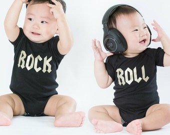Twins Outfits, Twin Bodysuits, Twins Baby Gift, Matching Baby Bodysuits, Rock n Roll Baby Outfits, Twins Birthday Gift,