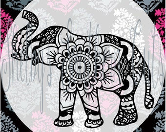 Elephant Mandala SVG.DXF.EPS files