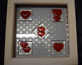 Fused Glass Valentine's Red Hearts Picture Framed Wall Hanging 19 x 19 cm
